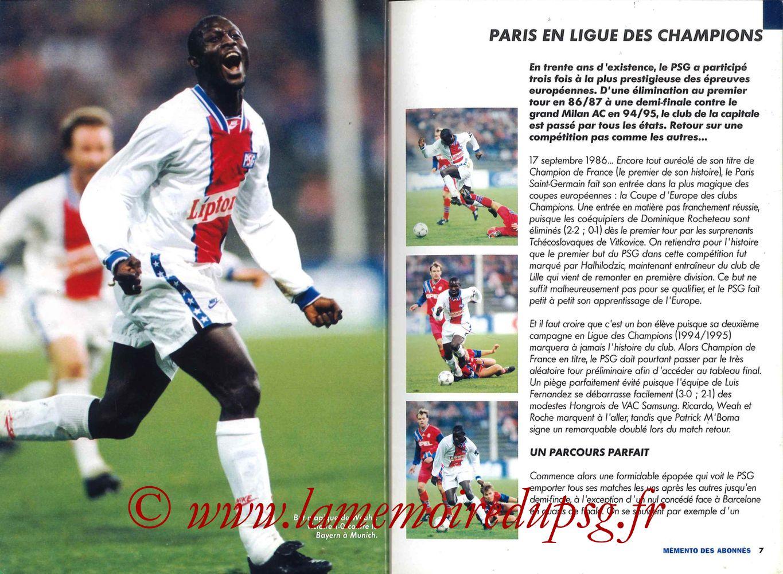 2000-01 - Guide de la Saison PSG - Pages 06 et 07