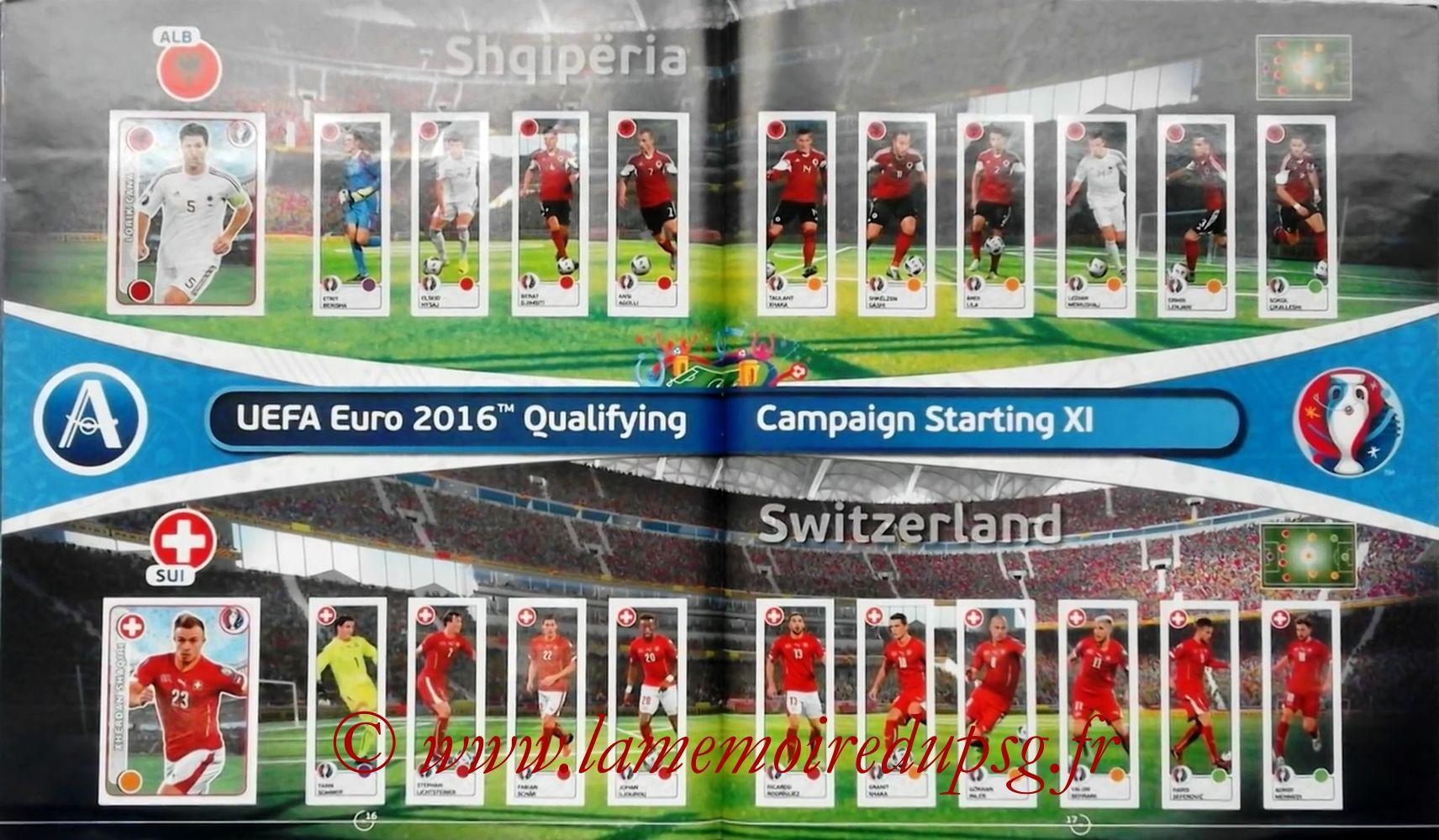 Panini Euro 2016 Stickers - Pages 16 et 17 - Albanie et Suisse