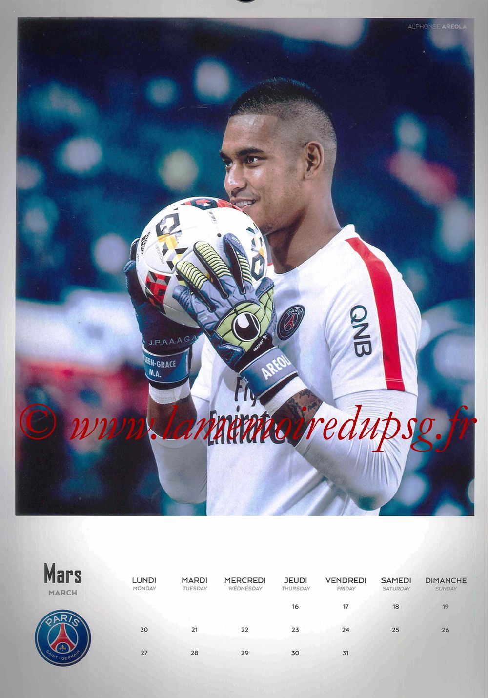 Calendrier PSG 2017 - Page 06 - Alphonse AREOLA
