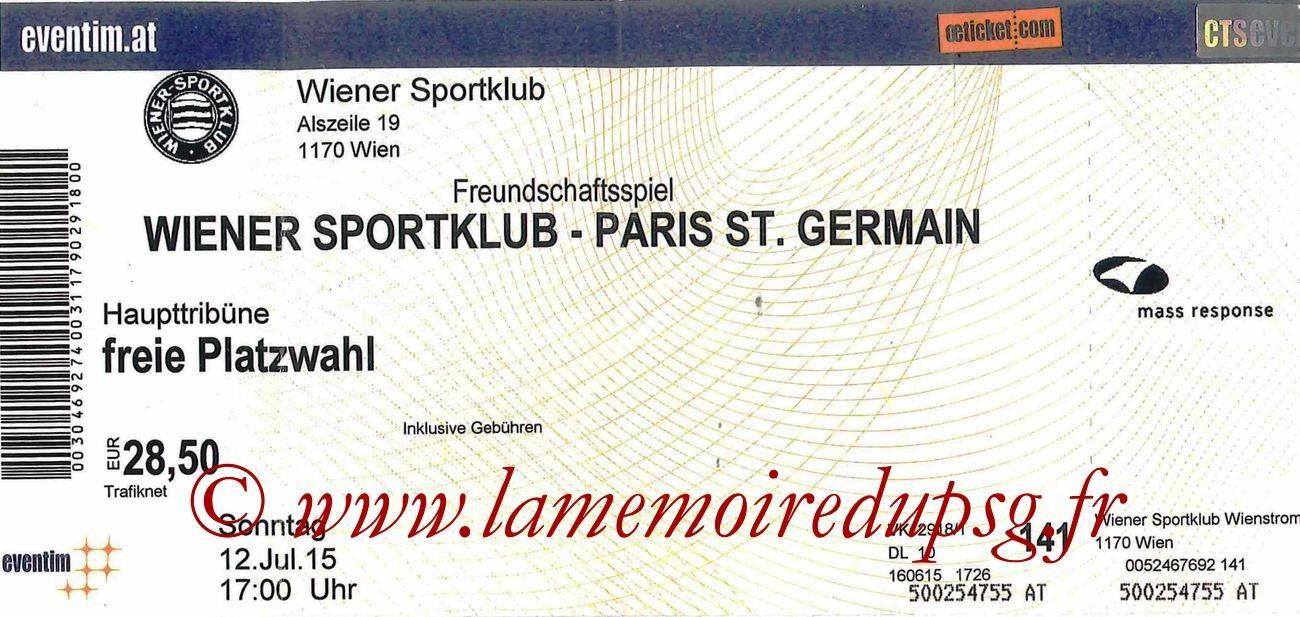 2015-07-12  Wiener SK-PSG (Amical à Vienne)