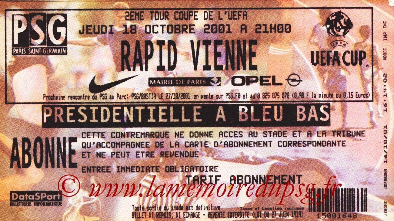 2001-10-18  PSG-Rapid Vienne (32ème Finale Aller C3)