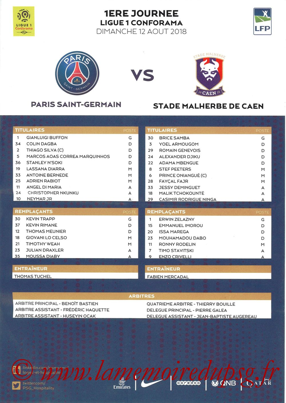 2018-08-12  PSG-Caen (1ère L1, Feuille de match)
