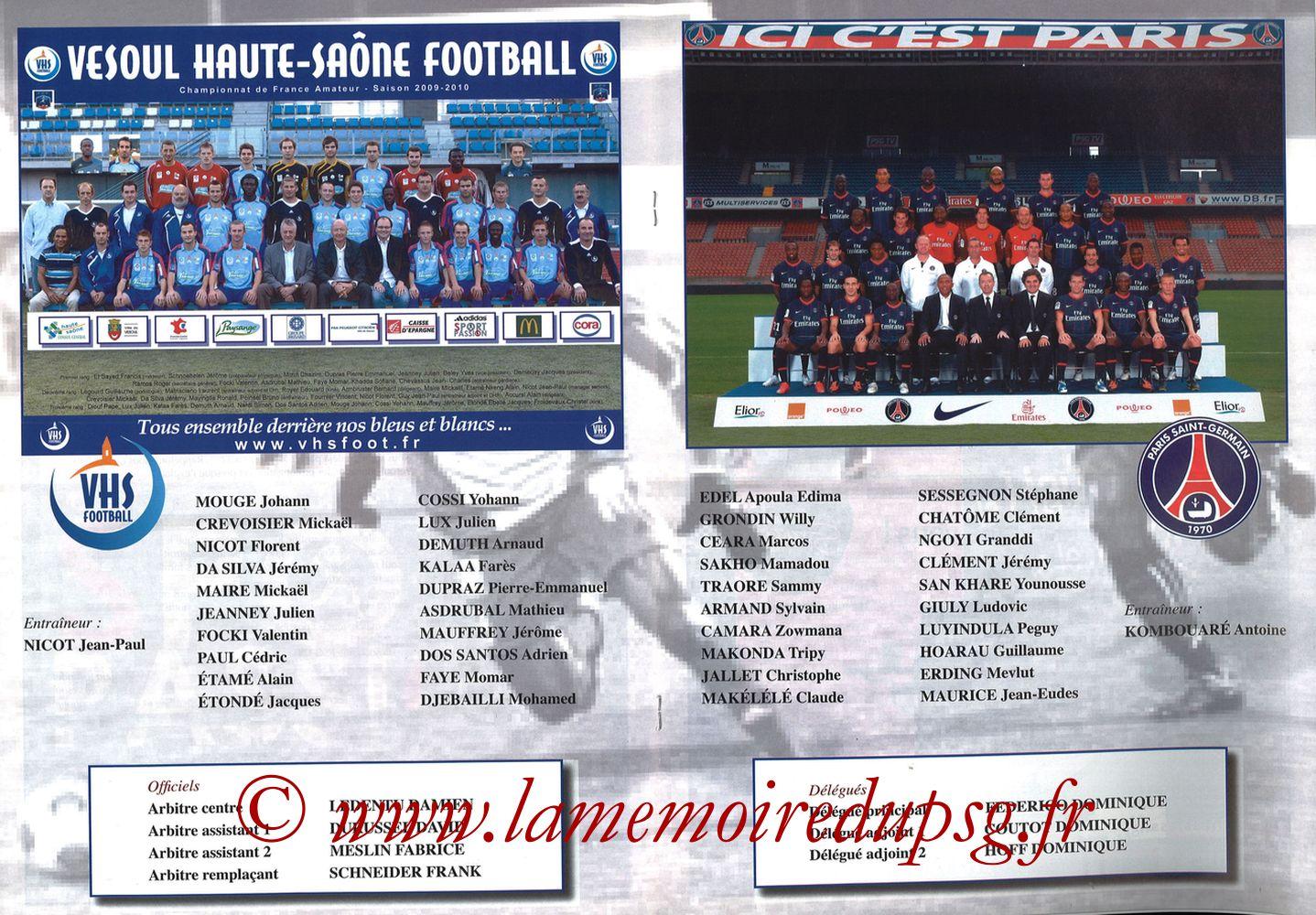 2010-02-09  Vesoul-PSG (8ème CF, Programme officiel) - Pages 06 et 07