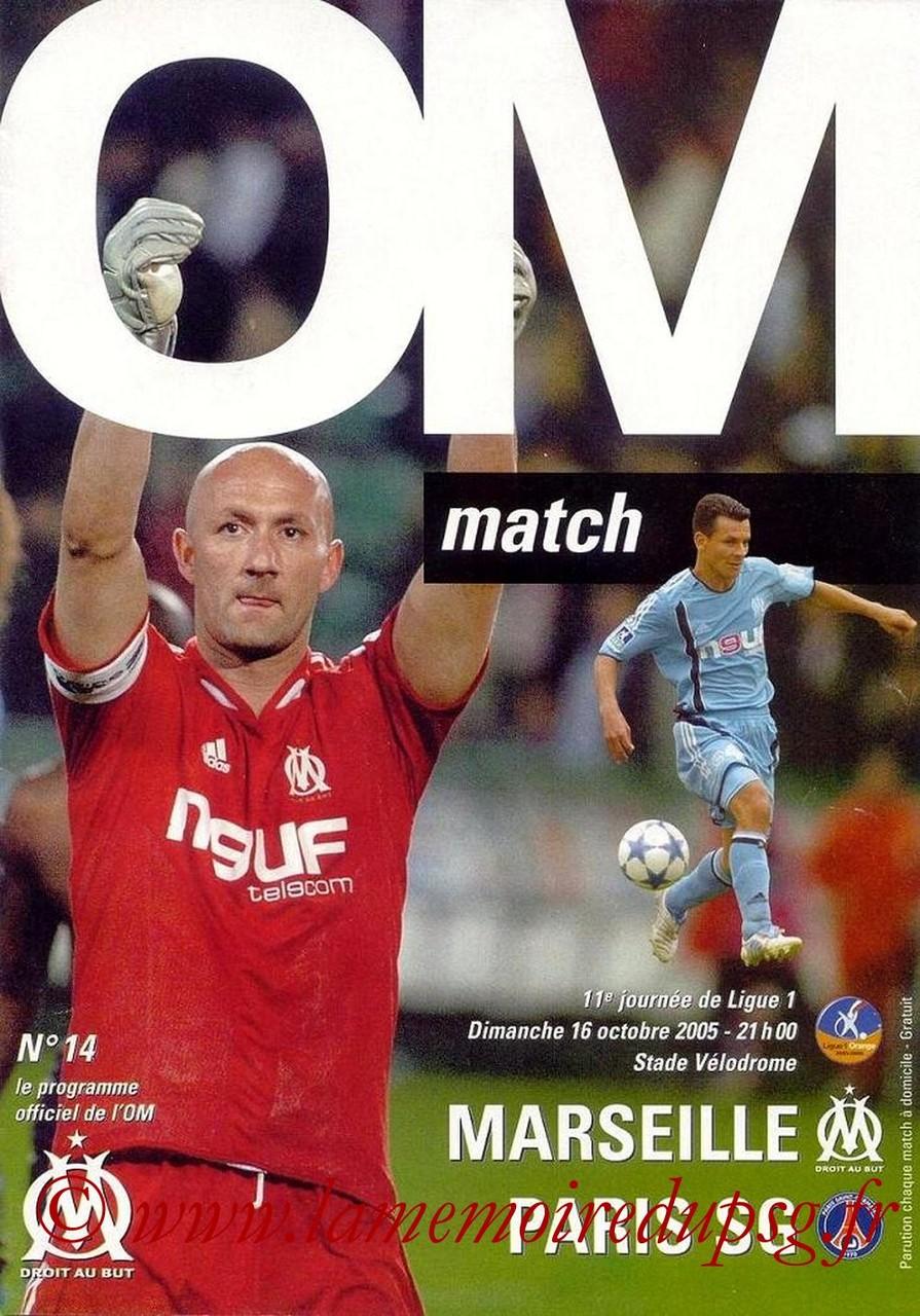 2005-10-16  Marseille-PSG (11ème L1, OM Match N°14)