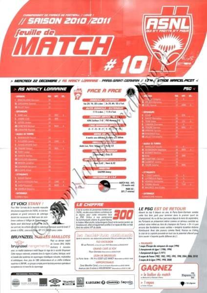 2010-12-22  Nancy-PSG (19ème L1, Feuille de match N°10)
