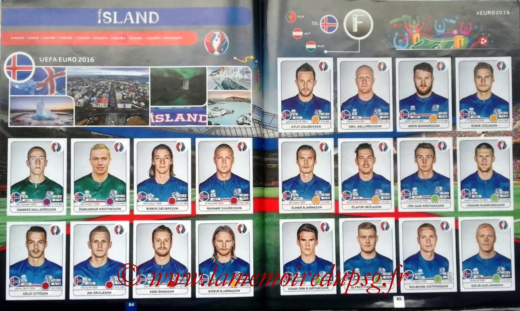 Panini Euro 2016 Stickers - Pages 84 et 85 - Islande