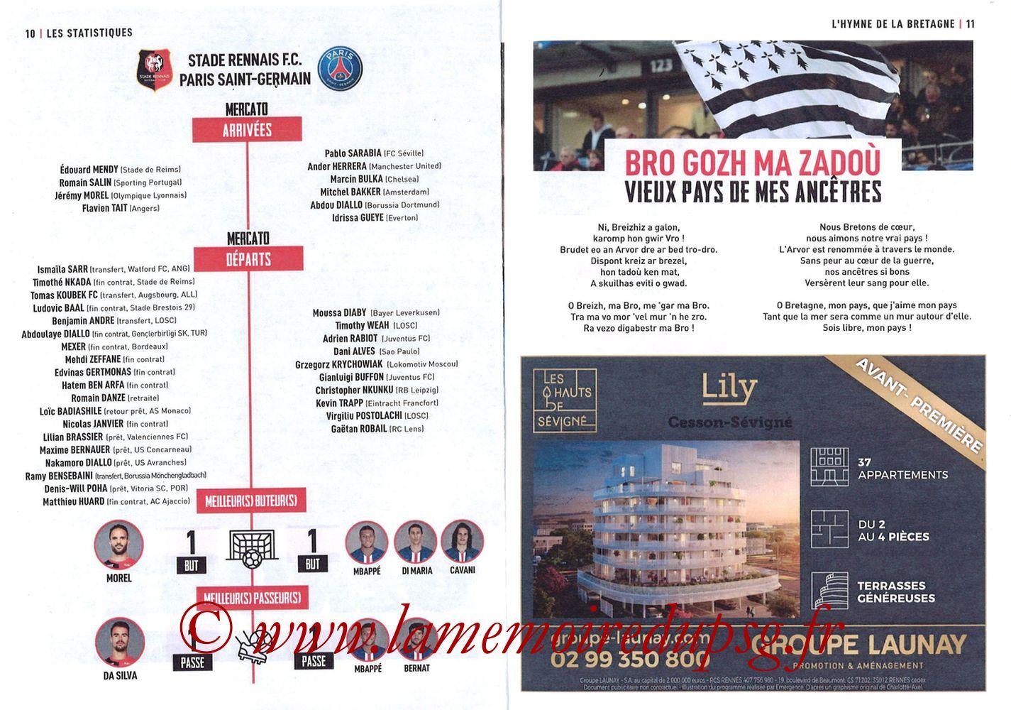 2019-08-18  Rennes-PSG (2ème L1, Programme officiel) - Pages 10 et 11