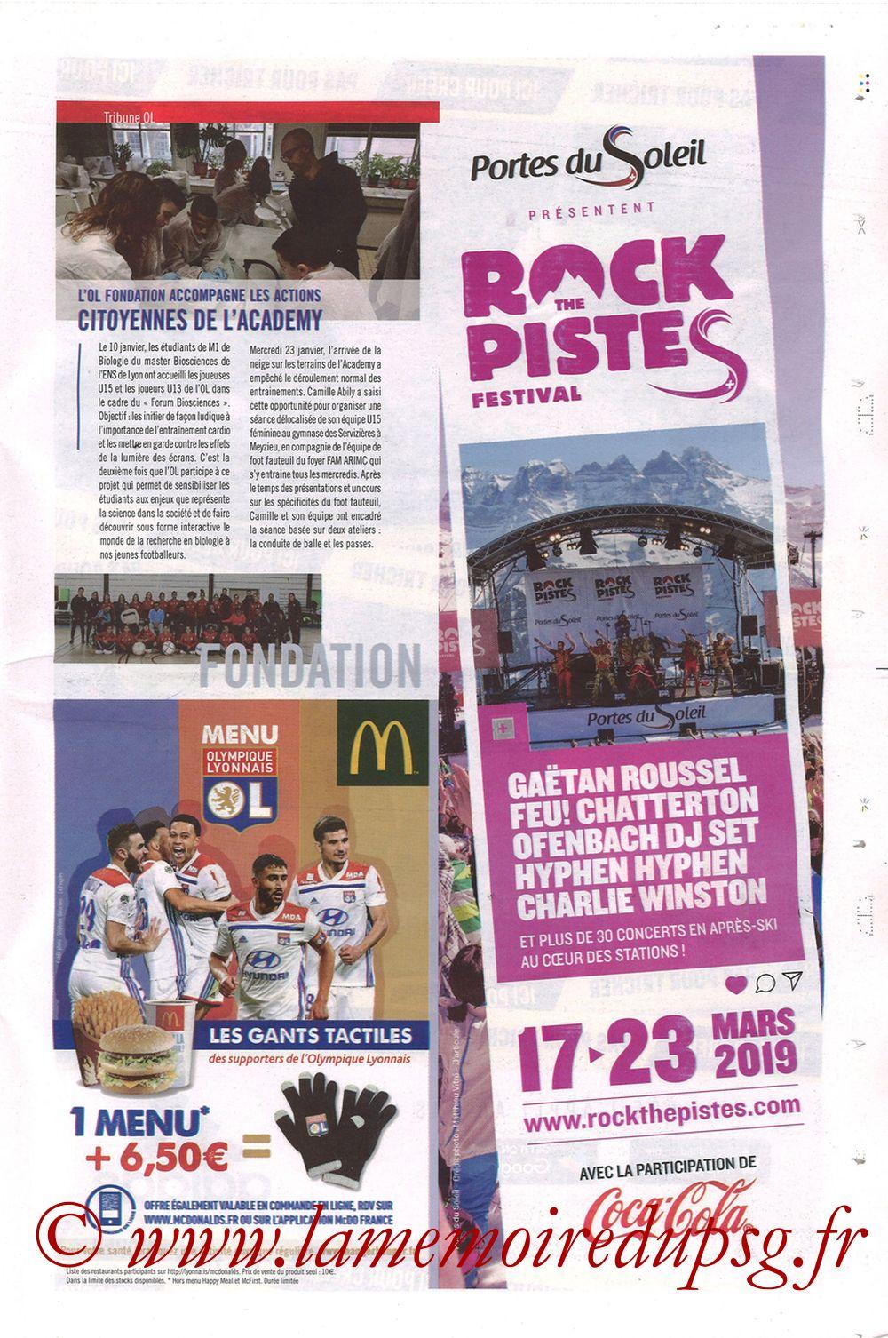 2019-02-03  Lyon-PSG (23ème L1, La Tribune OL N°270) - Page 23