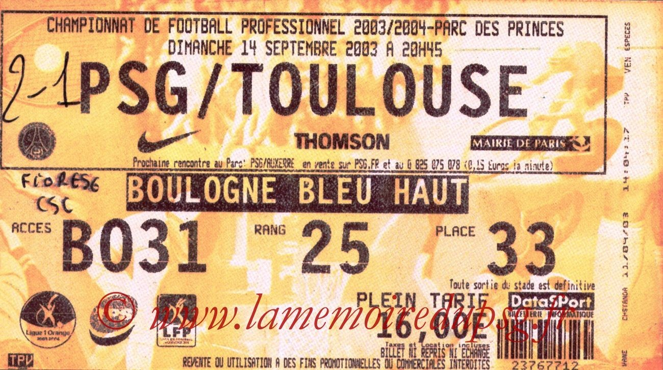 2003-09-14   PSG-Toulouse (6ème L1, bis)