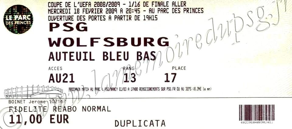 2009-02-18  PSG-Wolfsburg (16ème Finale Aller C3)