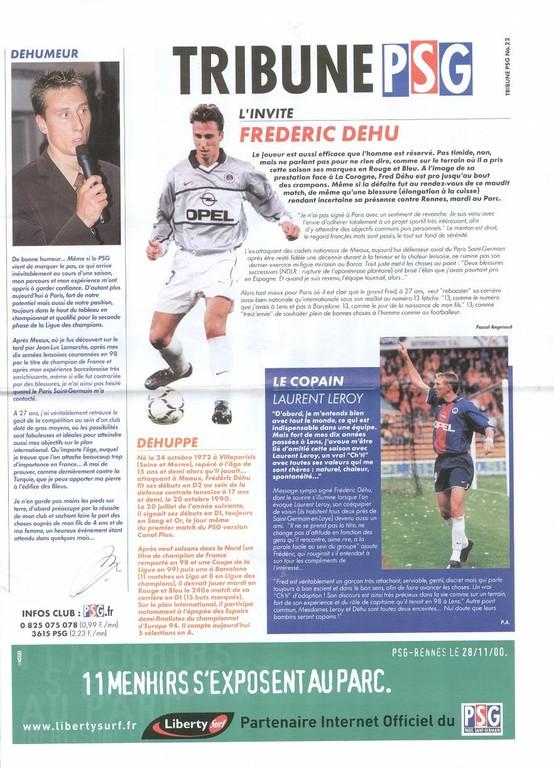 2000-11-29  PSG-Rennes (18ème D1, Tribune PSG N°22)