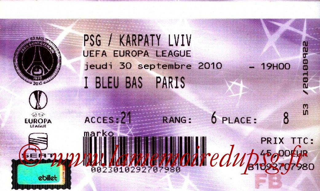 2010-09-30  PSG-Karpaty Lviv (2ème Journée Poule C3, France Billet)