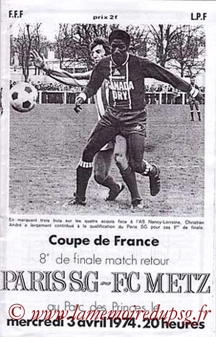 1974-04-03  PSG-Metz (8ème Retour CF)