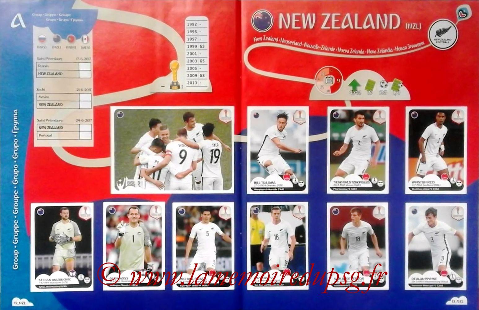 2017 - Panini Confederations Cup Russia Stickers - Pages 12 et 13 - Nouvelle Zélande