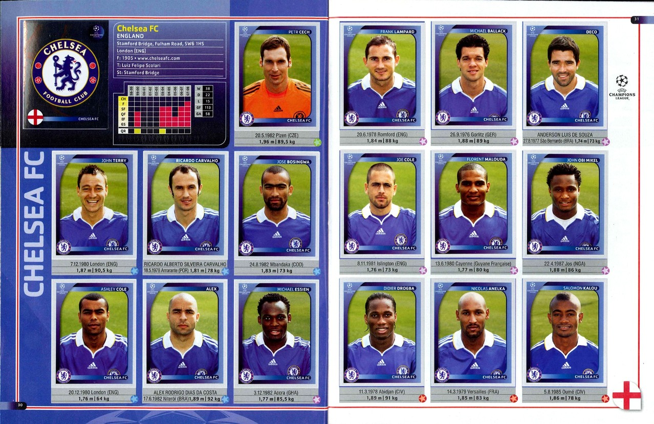 2008-09 - Panini Champions League - Pages 30 et 31 - Chelsea FC