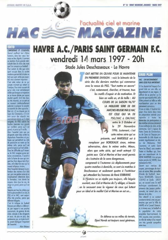 1997-03-14  Le Havre-PSG (29ème D1, HAC Magazine N°14)