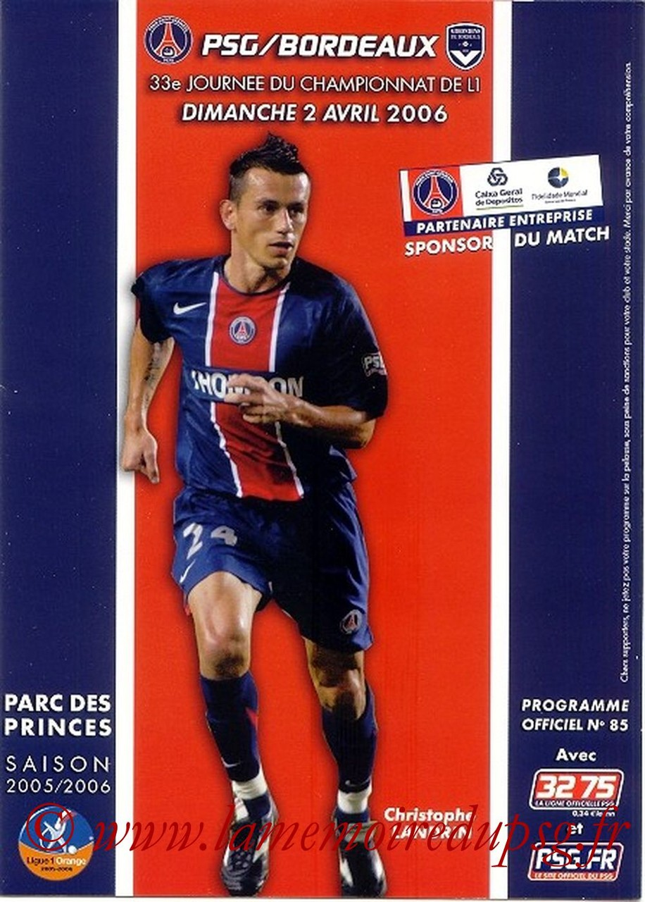 2006-04-02  PSG-Bordeaux (33ème L1, Officiel N°85)