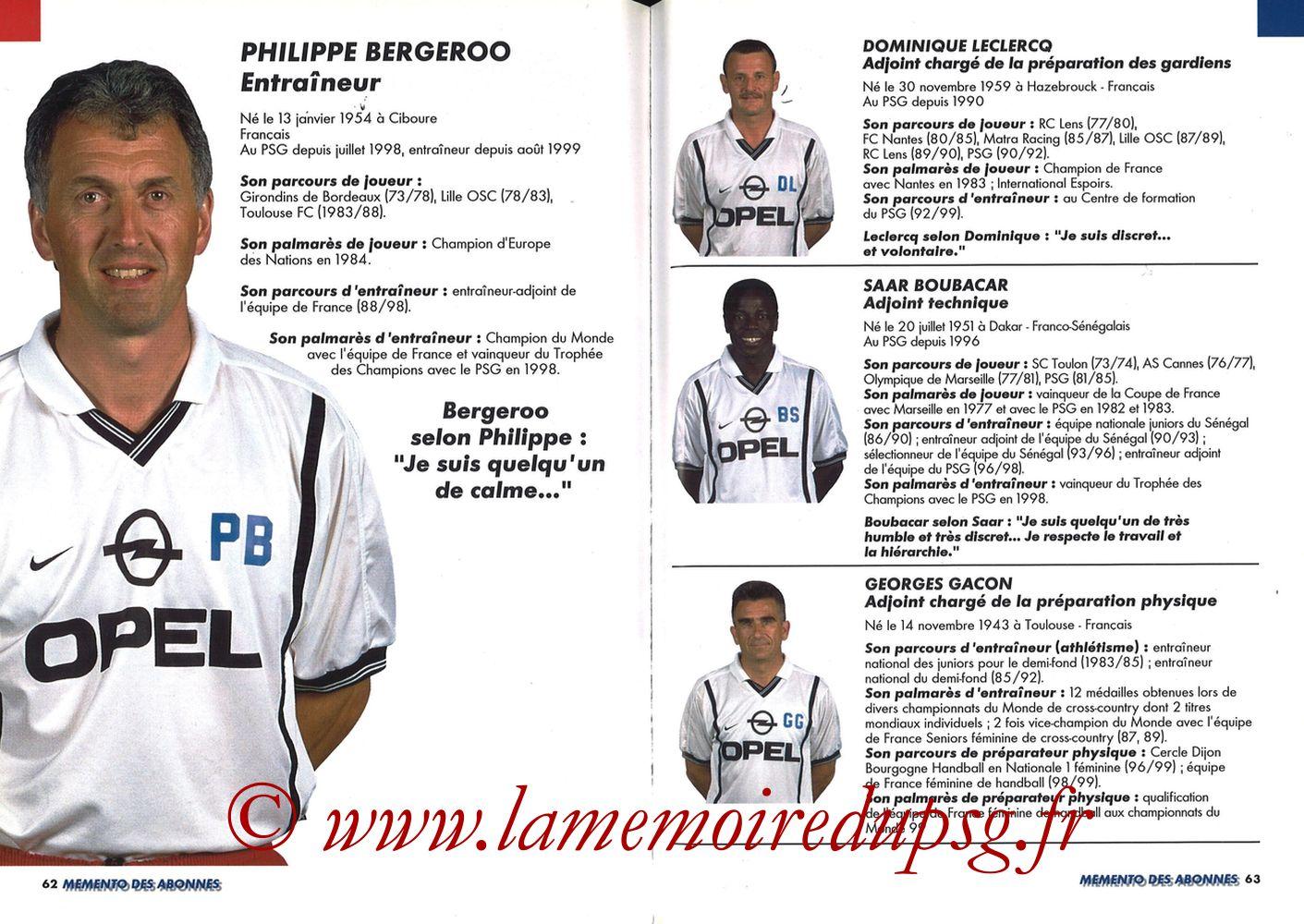 1999-00 - Guide de la Saison PSG - Pages 62 et 63