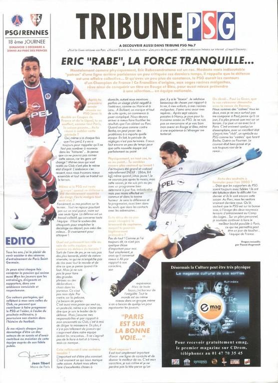1999-12-05  PSG-Rennes (18ème D1, Tribune PSG N°7)