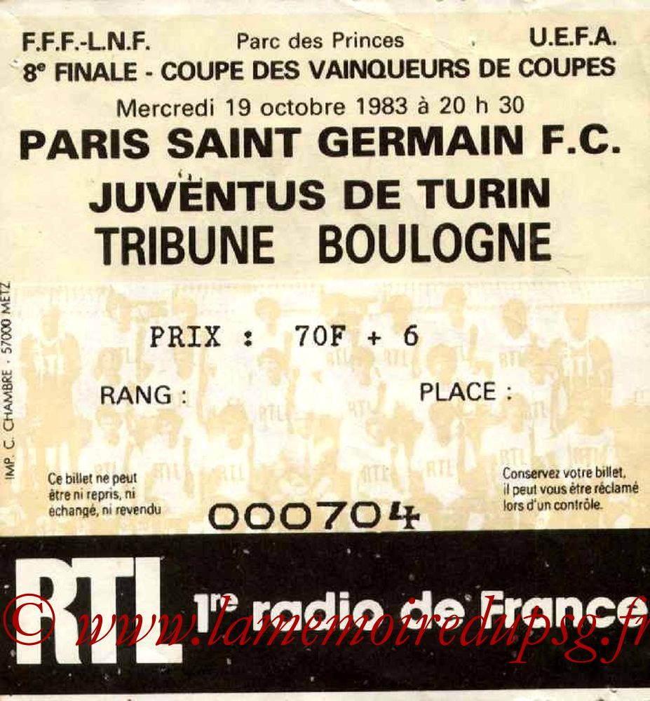 Ticket  PSG-Juventus Turin  1983-84