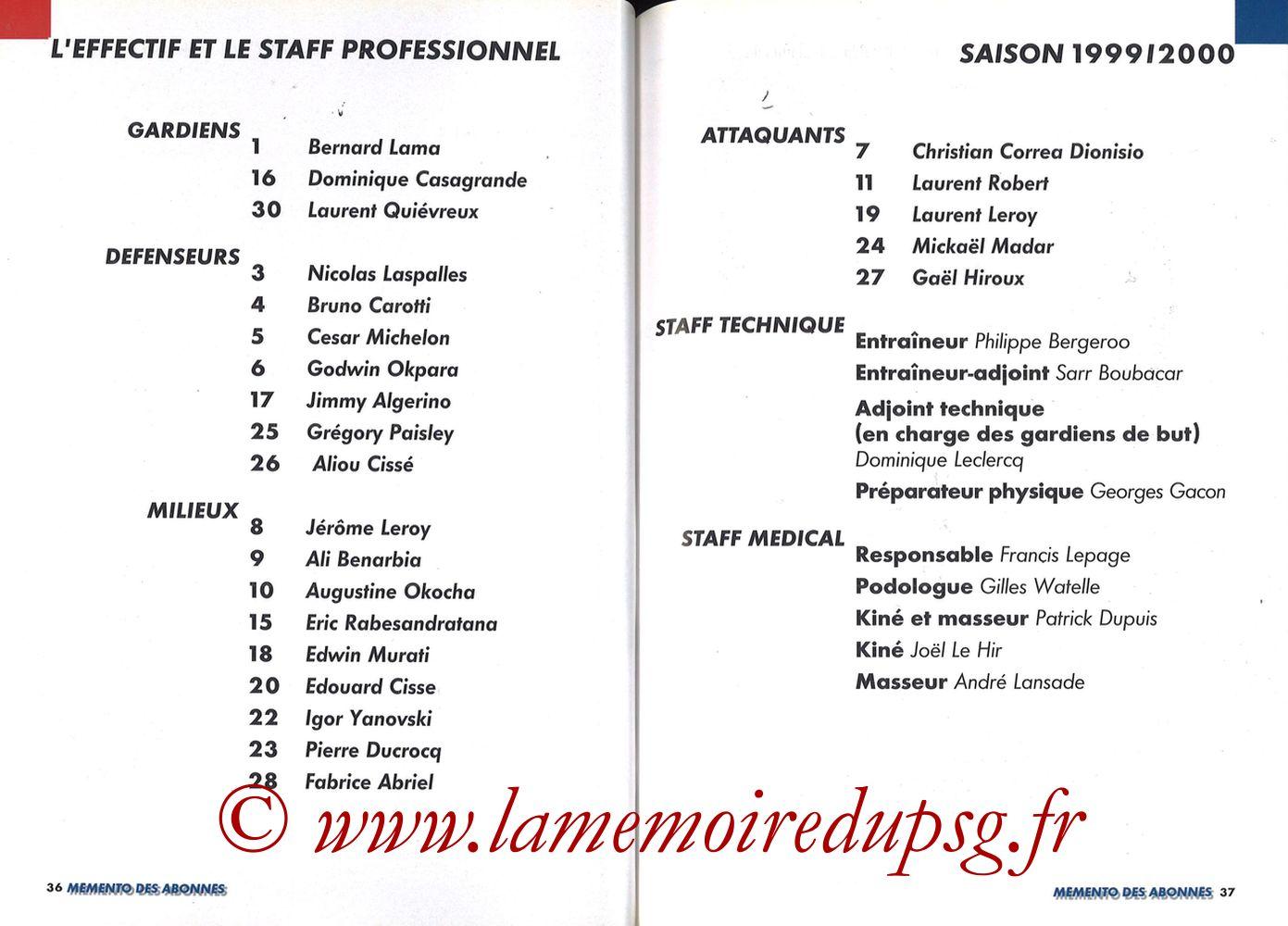 1999-00 - Guide de la Saison PSG - Pages 36 et 37