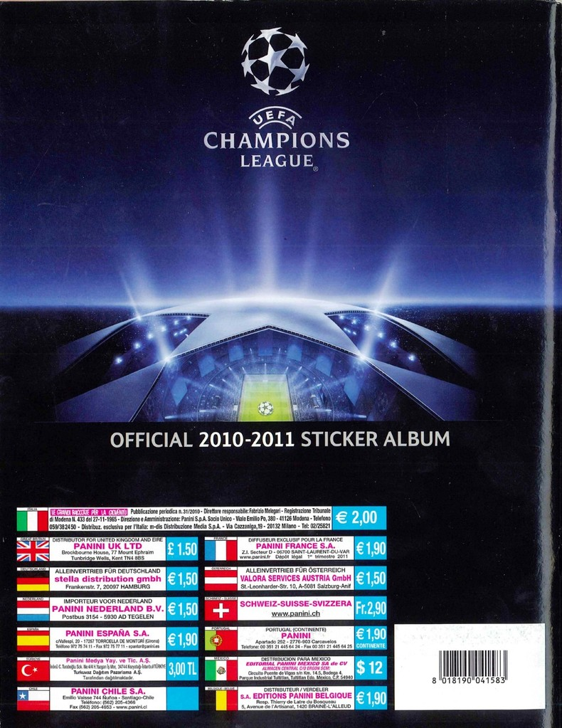 2010-11 - Panini Champions League - Dos d'album