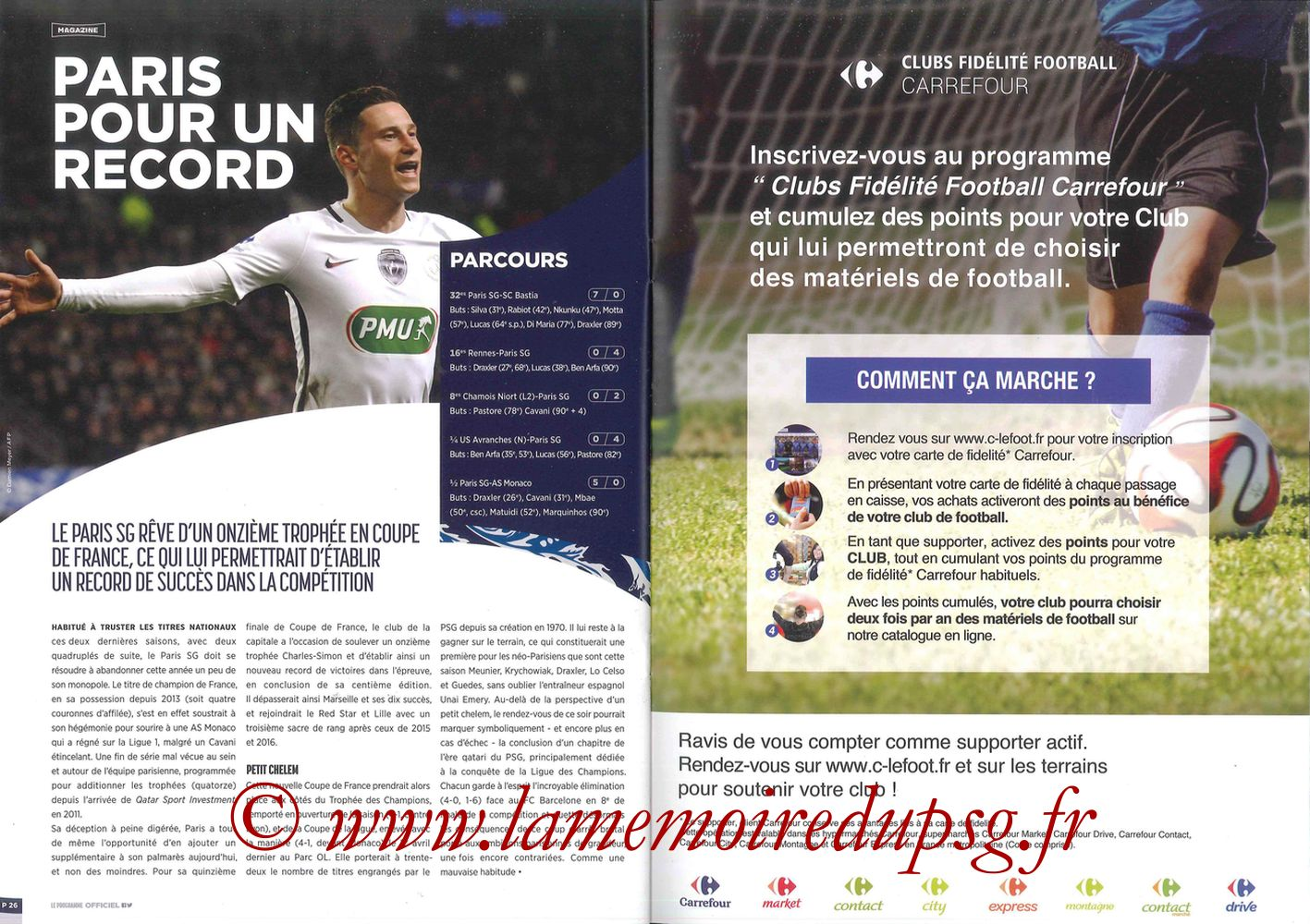 2017-05-27  Angers-PSG (Finale CF à Saint-Denis, Programme officiel) - Pages 26 et 27