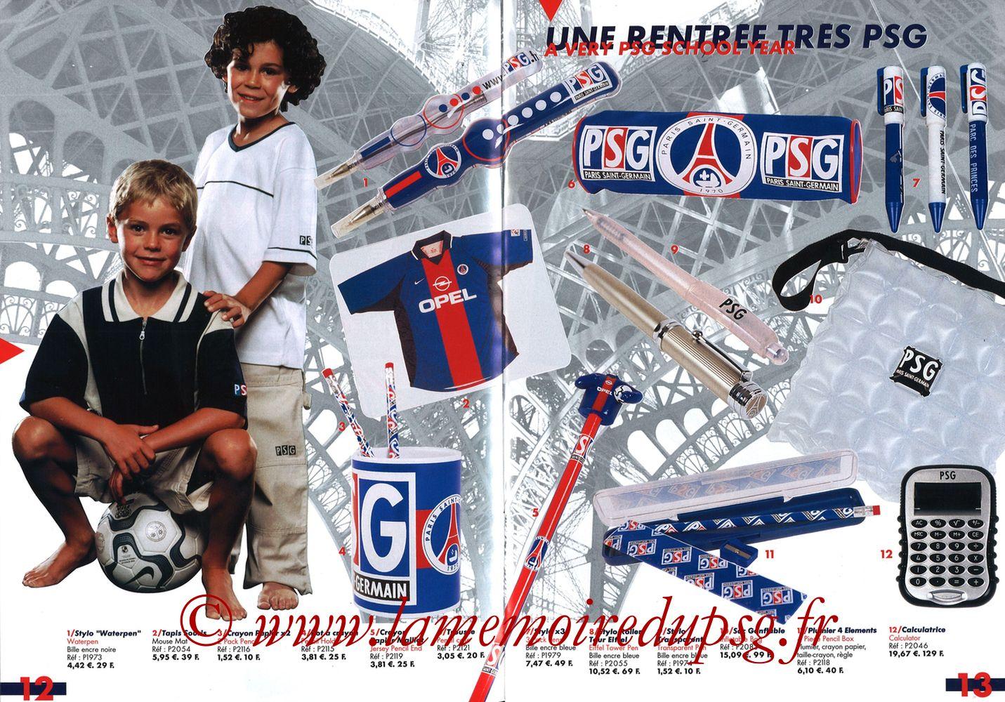 Catalogue PSG - 2001-02 - Pages 12 et 13