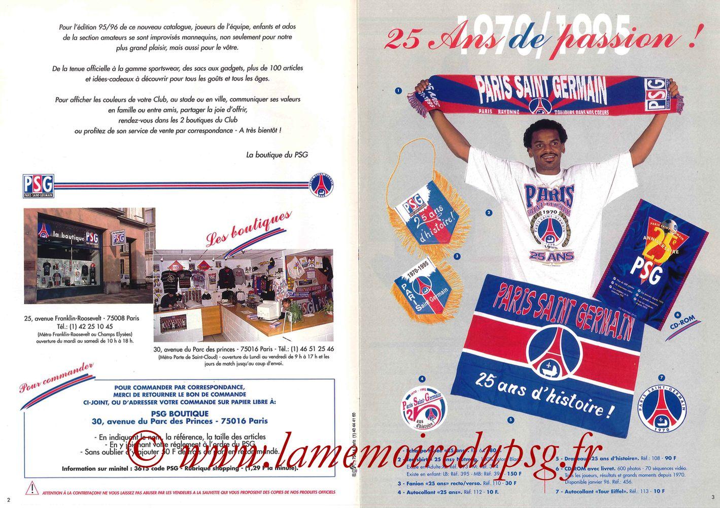 Catalogue PSG - 1995-96 - Pages 02 et 03
