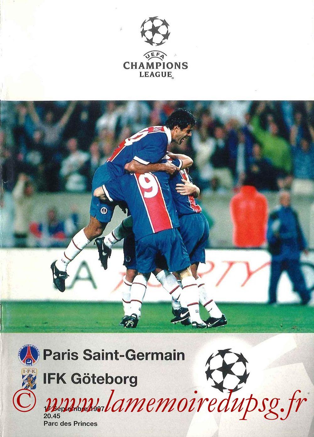 1997-09-17  PSG-Goteborg (1ère Poule C1, Programme officiel UEFA)