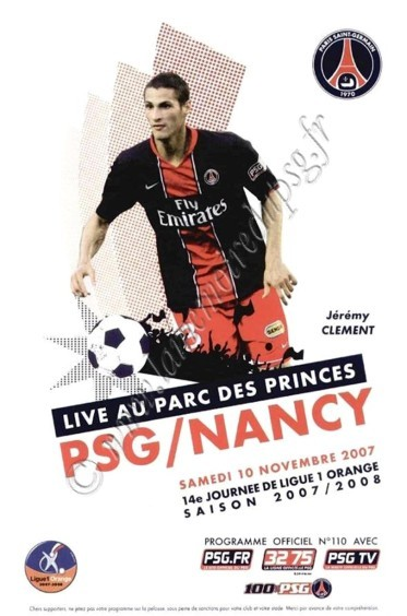 2007-11-10  PSG-Nancy (14ème L1, Officiel PSG N°110)