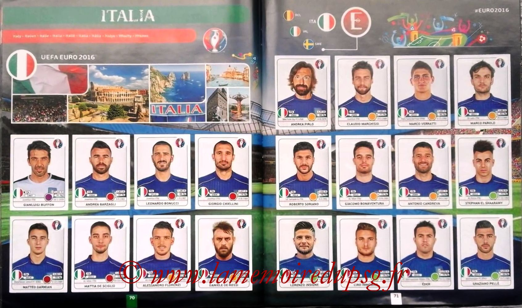 Panini Euro 2016 Stickers - Pages 70 et 71 - Italie
