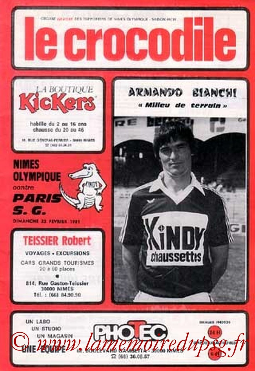 1981-02-22  Nîmes-PSG (27ème D1, Le Crocodile, Collection JNT)