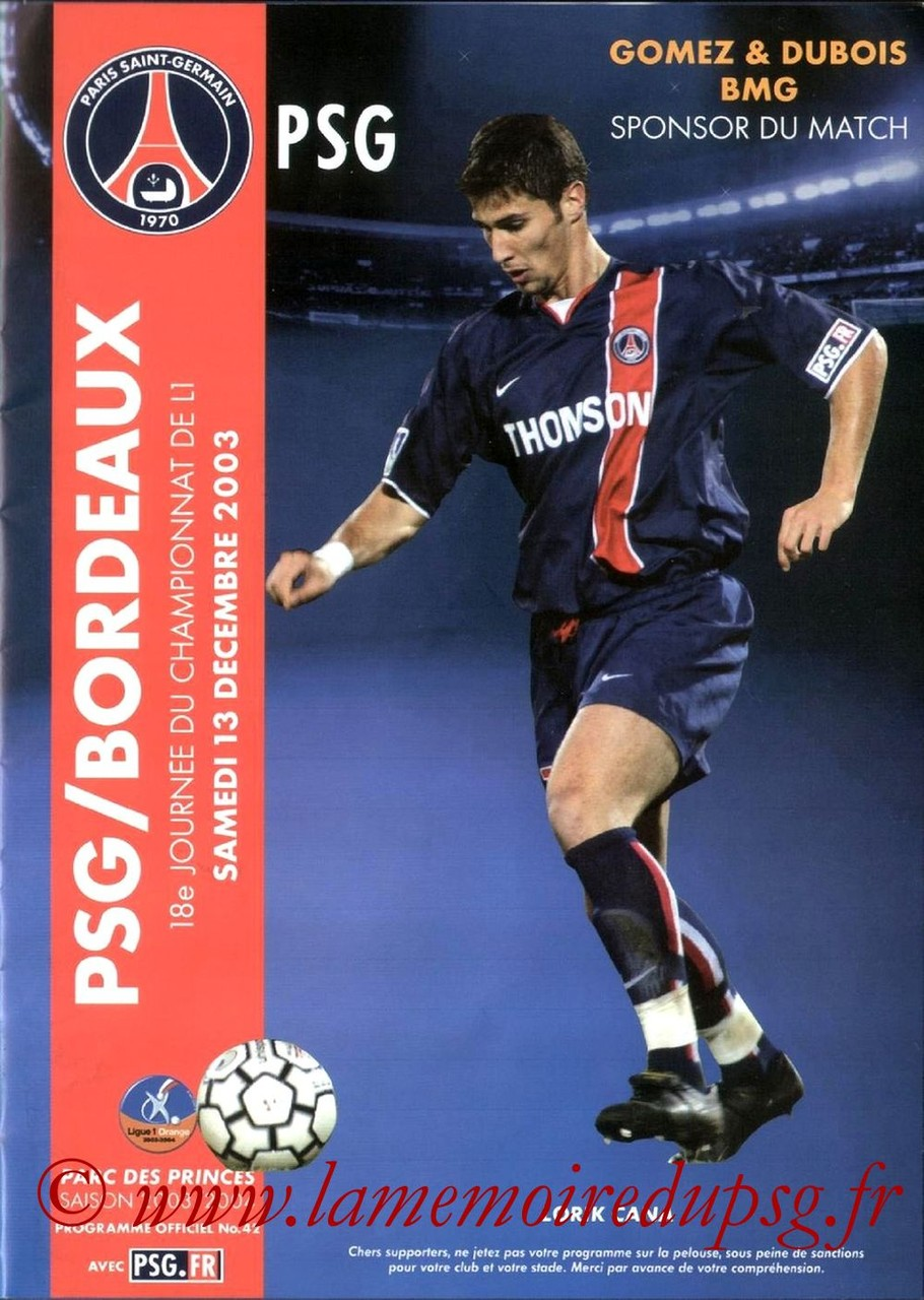 2003-12-13  PSG-Bordeaux (18ème L1, Programme officiel N°42)