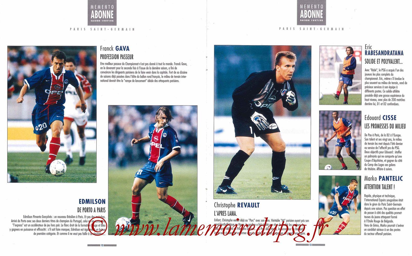 1997-98 - Guide de la Saison PSG - Pages 12 et 13