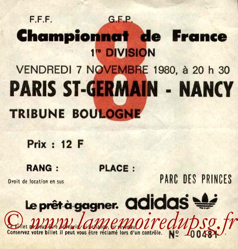 1980-11-07  PSG-Nancy (17ème D1, Ticket N°8)