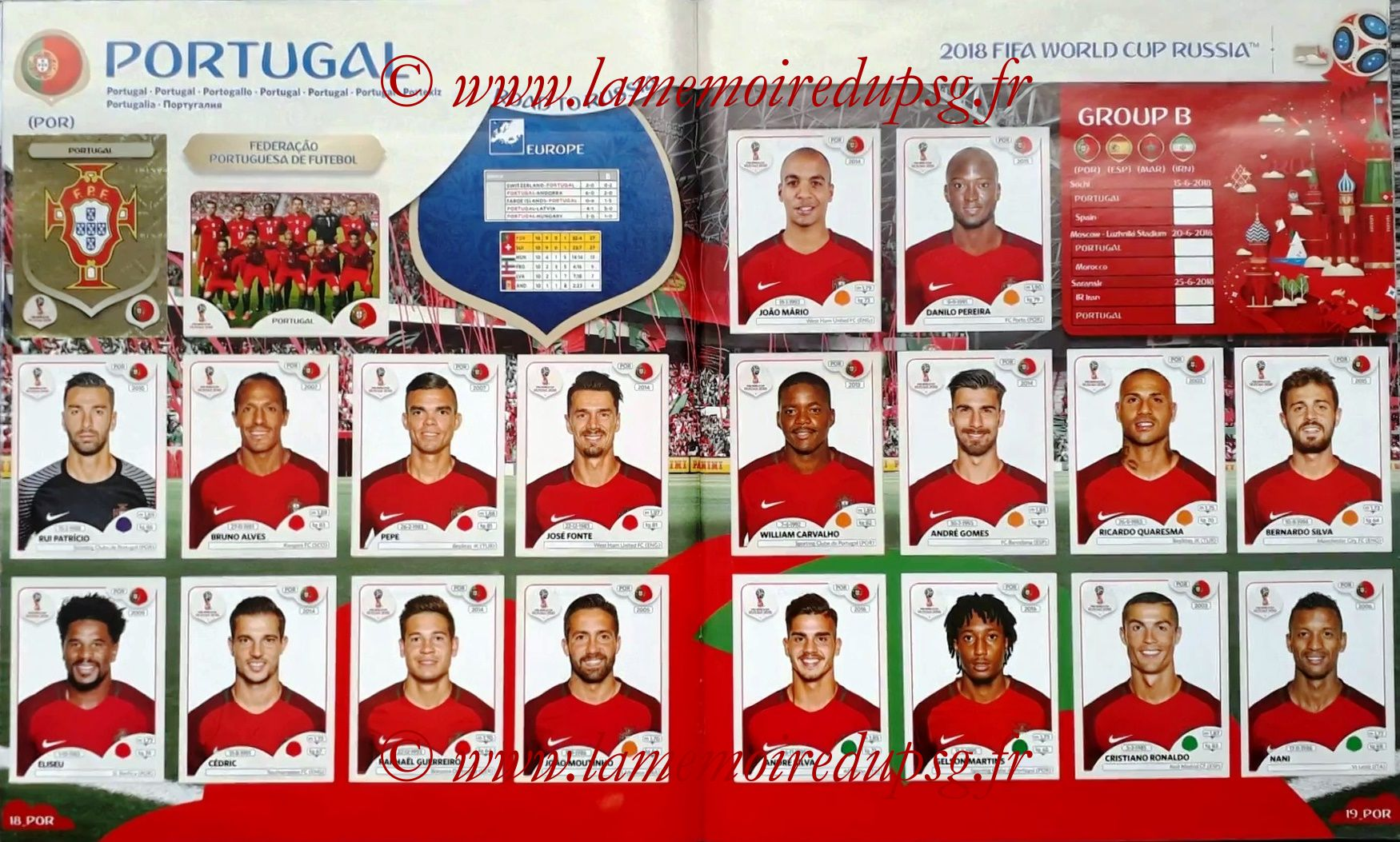 2018 - Panini FIFA World Cup Russia Stickers - Pages 18 et 19 - Portugal