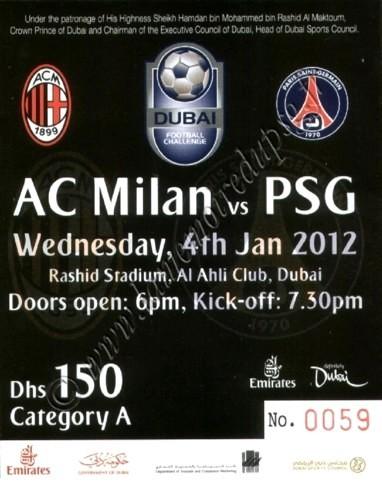 2012-01-04  Milan AC-PSG (Amical à Dubaï)