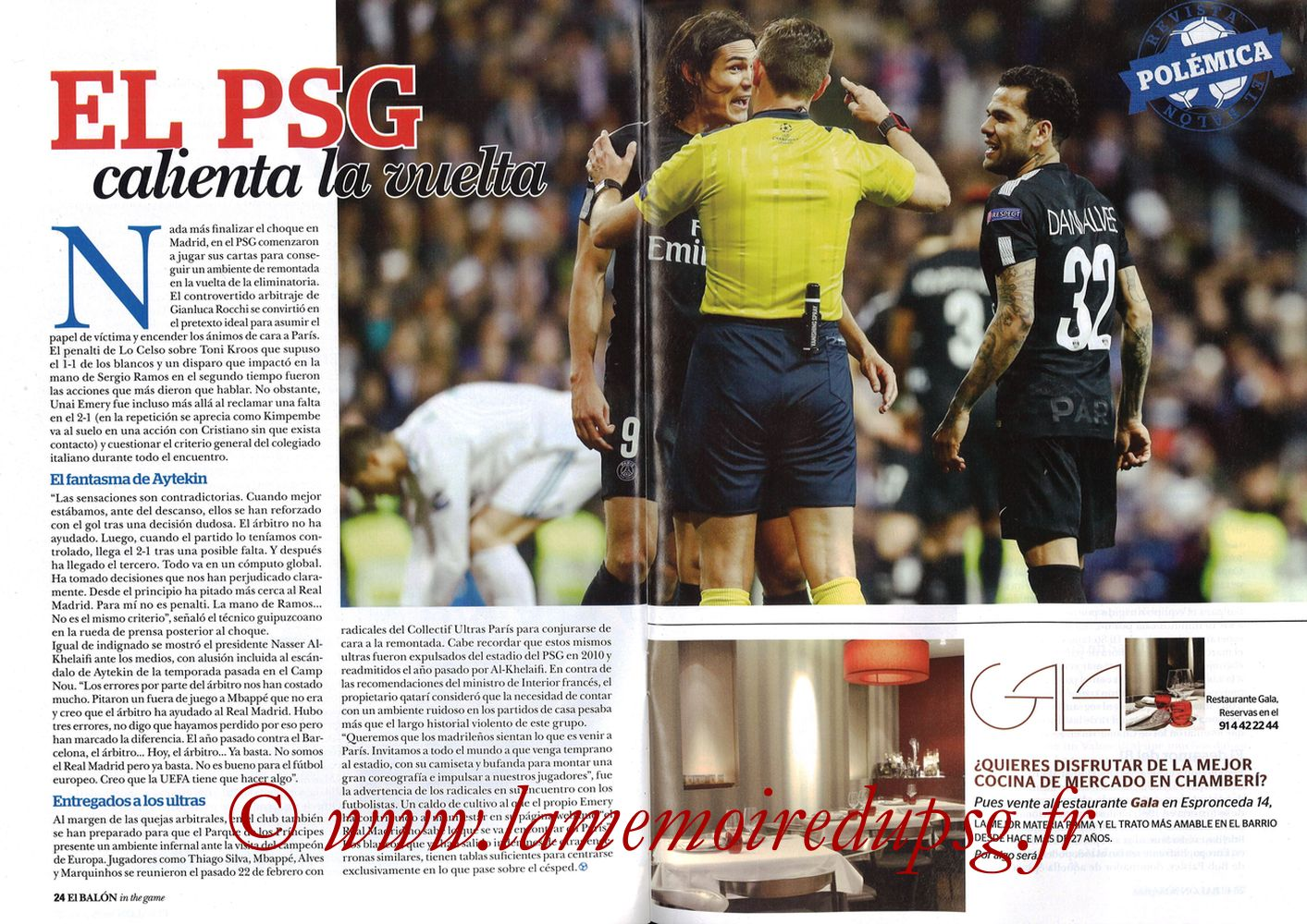 2018-03-06  PSG-Real Madrid (8ème Retourr C1, El Balon in the game N°49) - Pages 24 et 25