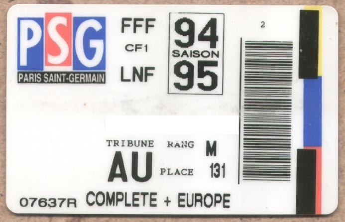 Carte d'abonné PSG 1994-95