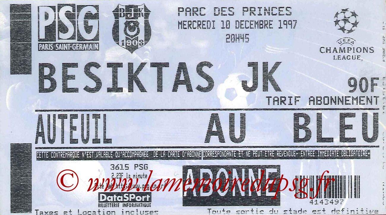 1997-12-10  PSG-Besiktas Istanbul (6ème Journée Poule C1)