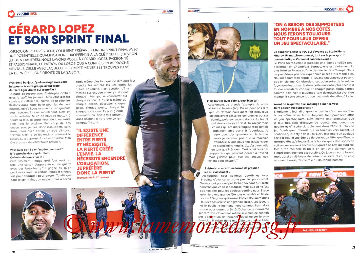 2019-04-14  Lille-PSG (32ème L1, LOSC In the City N° 28) - Pages 08 et 09
