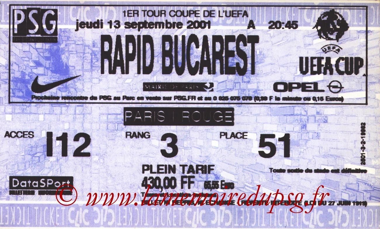 2001-09-13  PSG-Rapid Bucarest (64ème Finale Aller C3, Ticketclic)