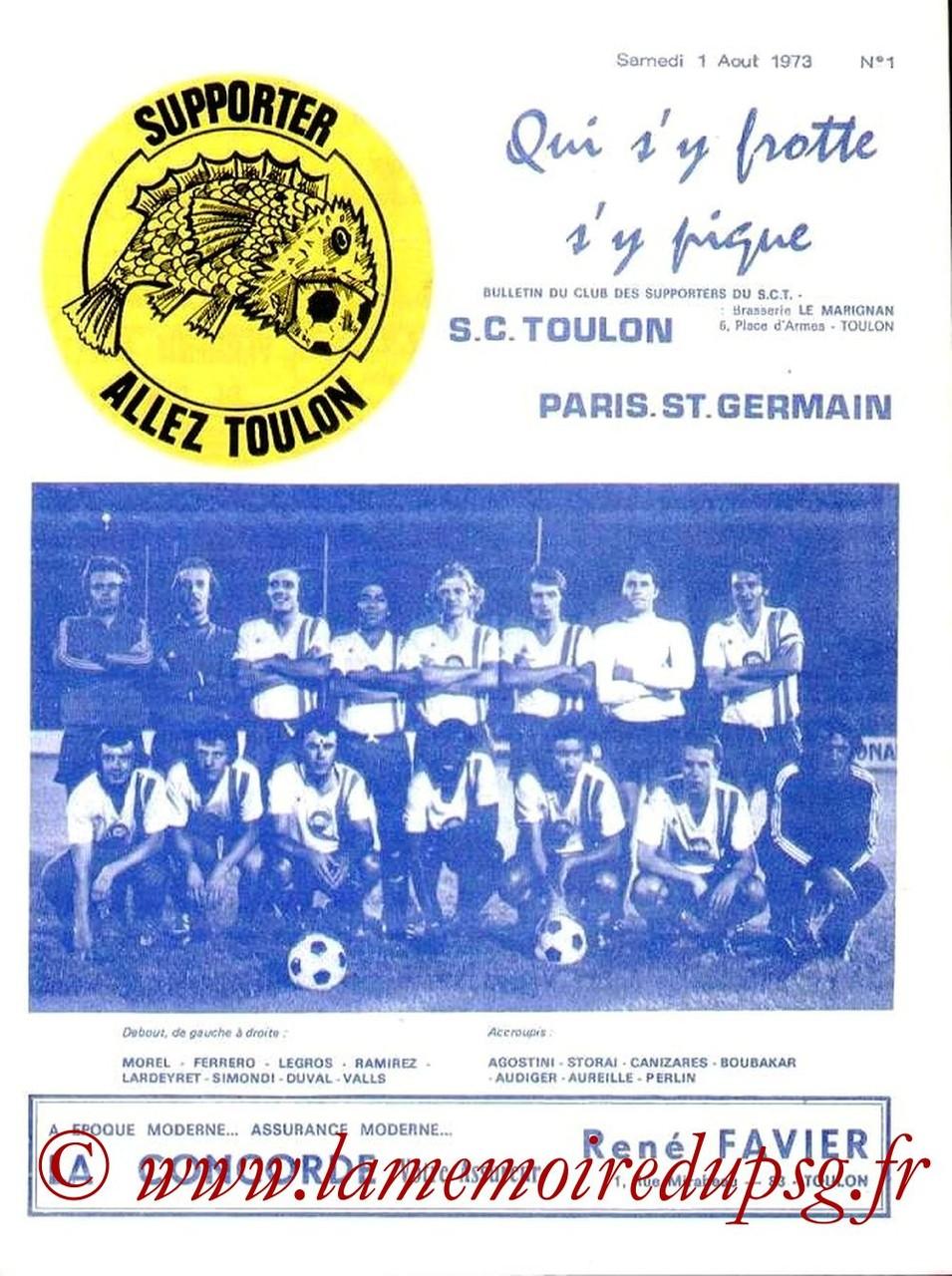 1973-09-01  Toulon-PSG (1ère D2, Allez Toulon N°1)
