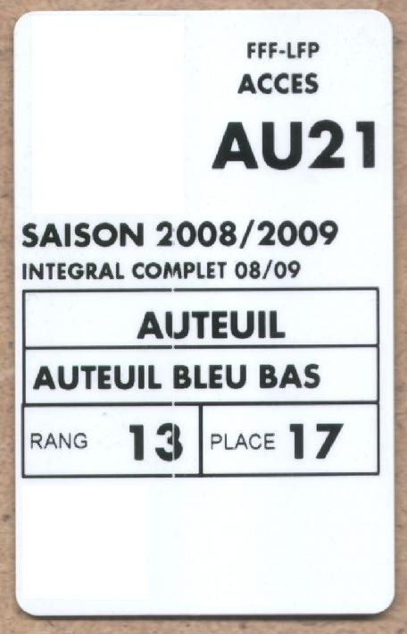 Carte d'abonné PSG 2008-09