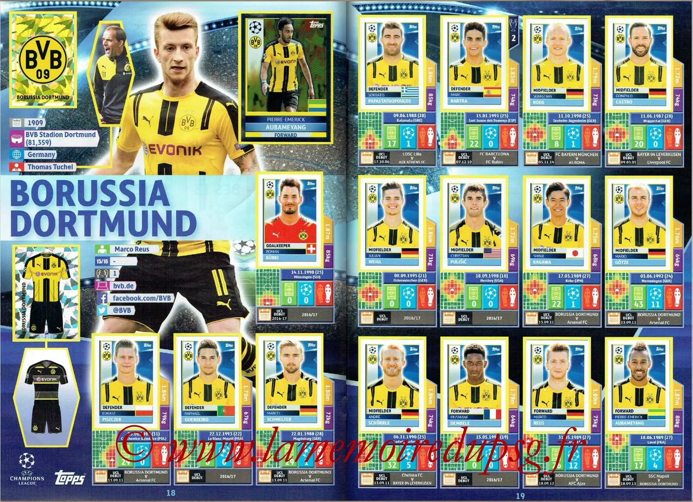 2016-17 - Topps UEFA Champions League Stickers - Pages 18 et 19 - Borussia Dortmund