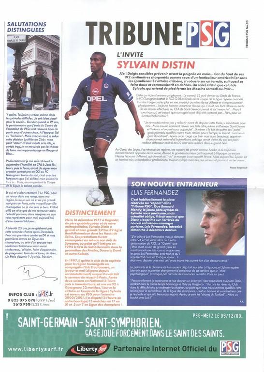 2000-12-09  PSG-Metz (20ème D1, Tribune PSG N°23)