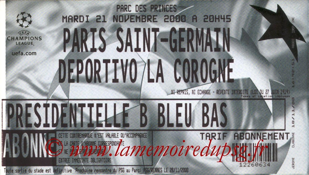 2000-11-21  PSG-La Corogne (2ème Phase C1, 1ère Journée)
