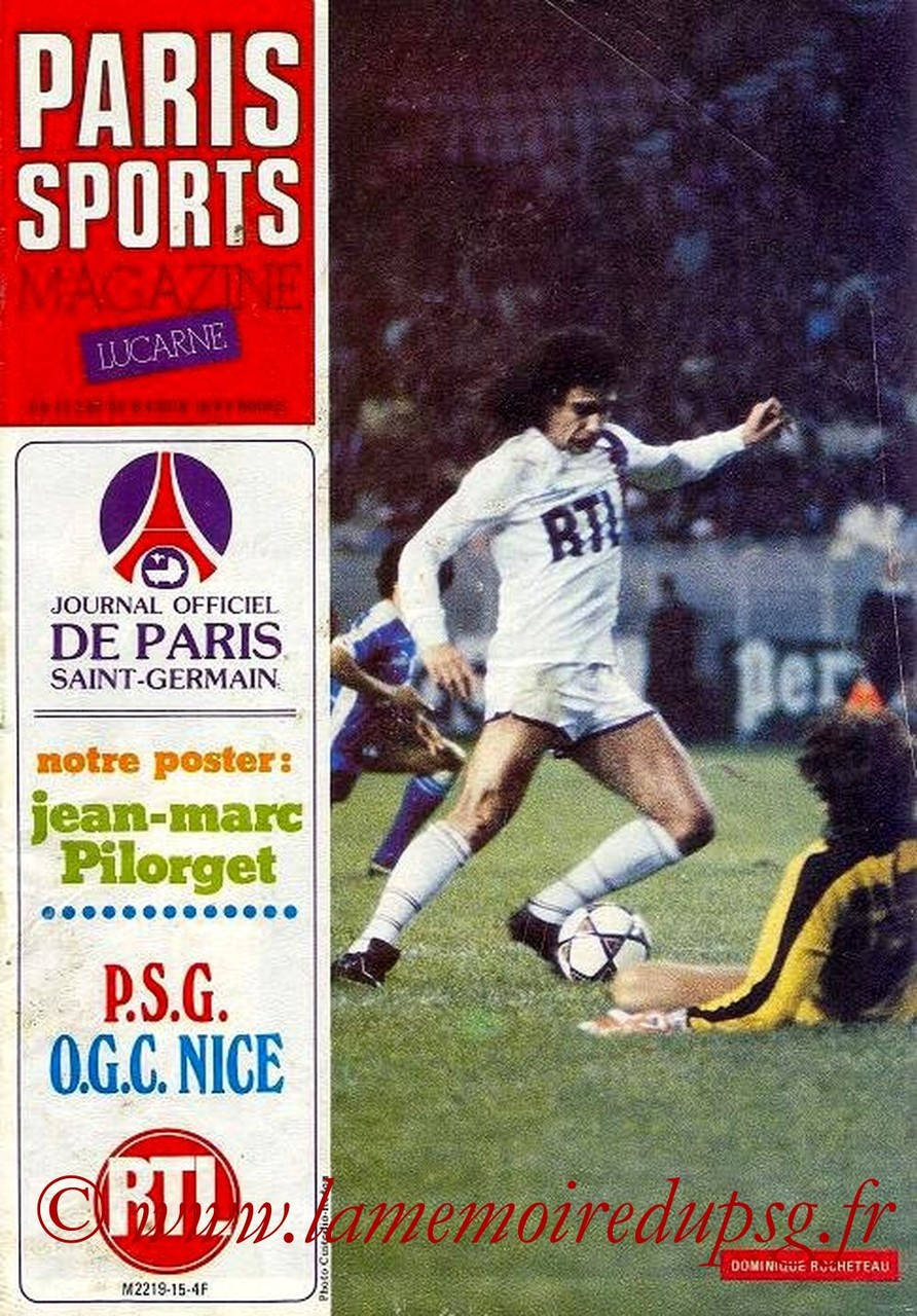 1982-03-27  PSG-Nice  (32ème D1, Paris Sports Magazine N°15)