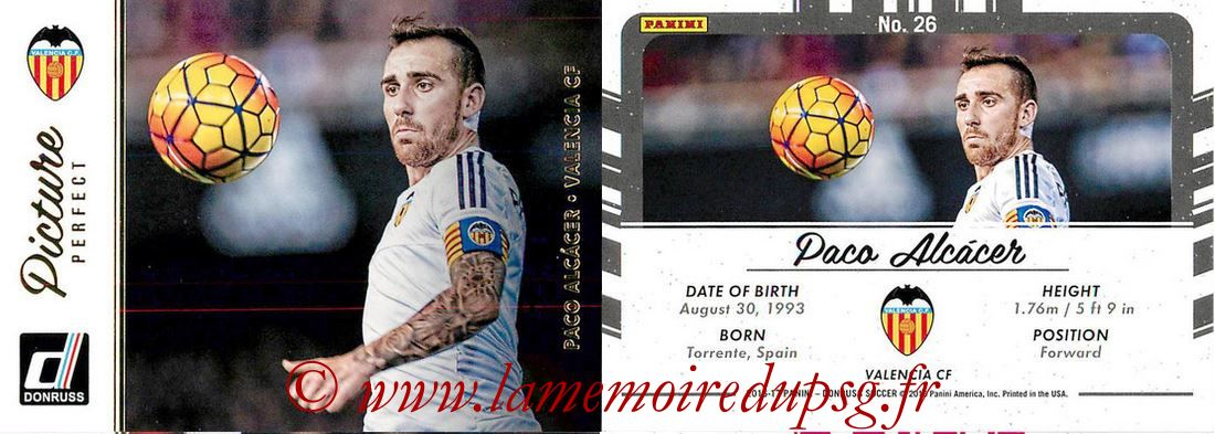 2016 - Panini Donruss Cards - N° PP26 - Paco ALCACER (FC Valence) (Picture Perfect)